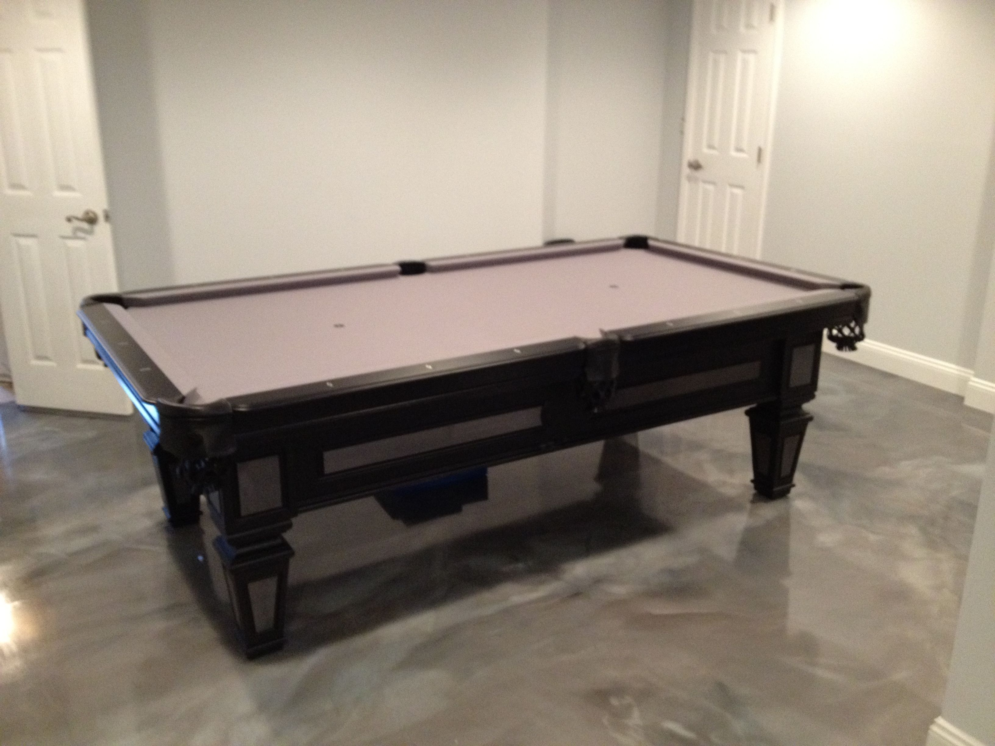 8u0027 Olhausen Brentwood Pool Table With A Matte Black Laquer And Graphite On  Maple Finish