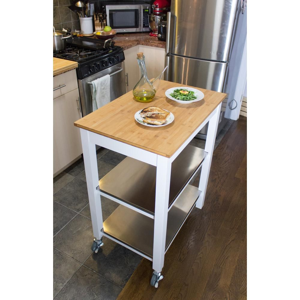 Corner Housewares Ultimate White Kitchen Cart With Chopping