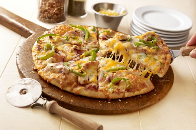 BBQ sauce, tasty toppings and triple Cheddar cheese make for an ooey