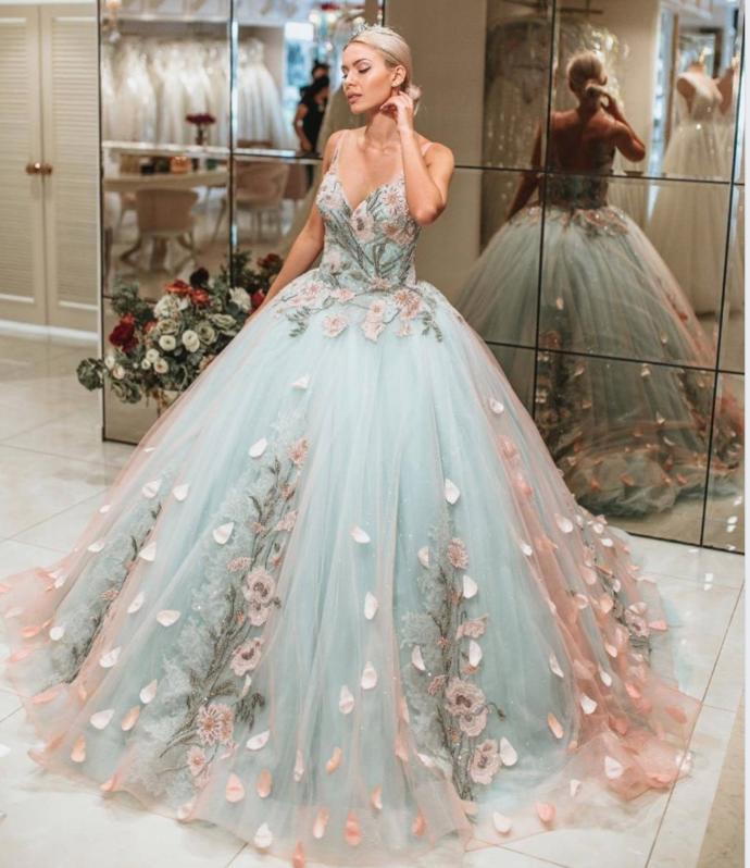 Handmade customdress light spaghetti-straps applique sweetheart prom dresses flower tulle lace backless long sweet dresses from customdresskoko