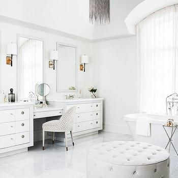 White Master Bathroom with Barrel Ceiling and Gray Metal Mesh Chandelier