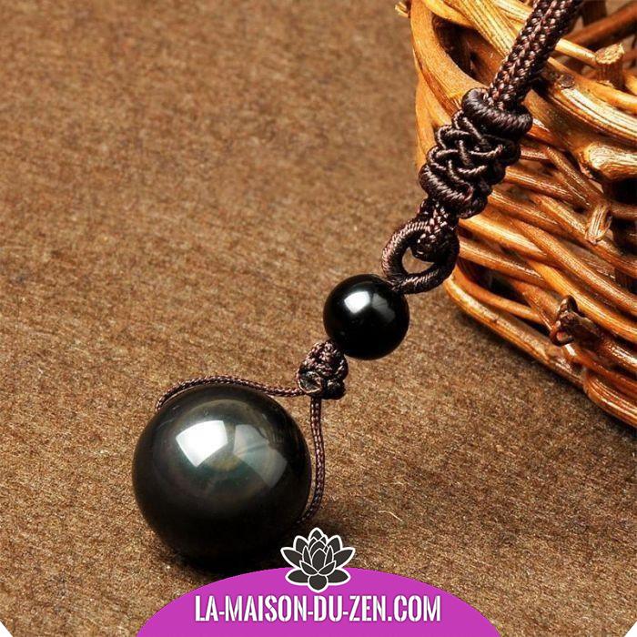 collier boule noir homme