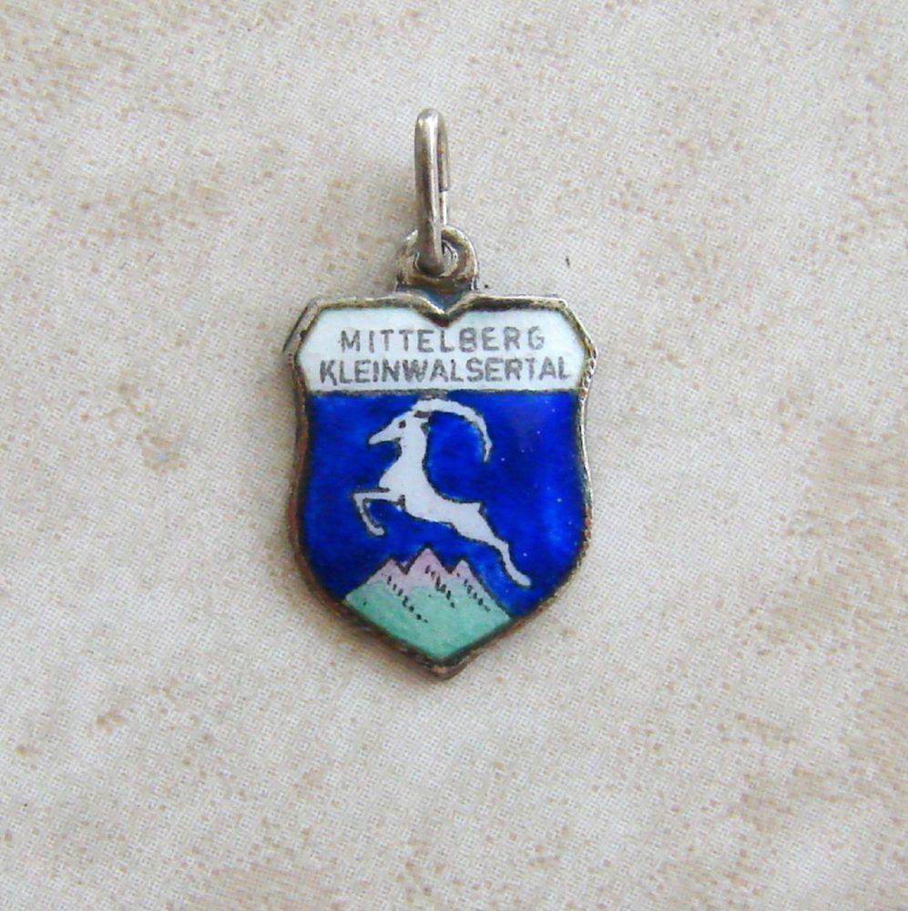 Vintage Silver Mittleberg Austria Enamel Travel Shield Bracelet Charm REU #REU