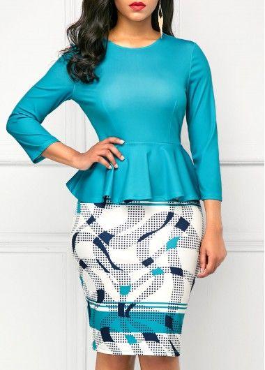 Printed Peplum Waist Round Neck Peacock Blue Dress | Mode für Frauen ...