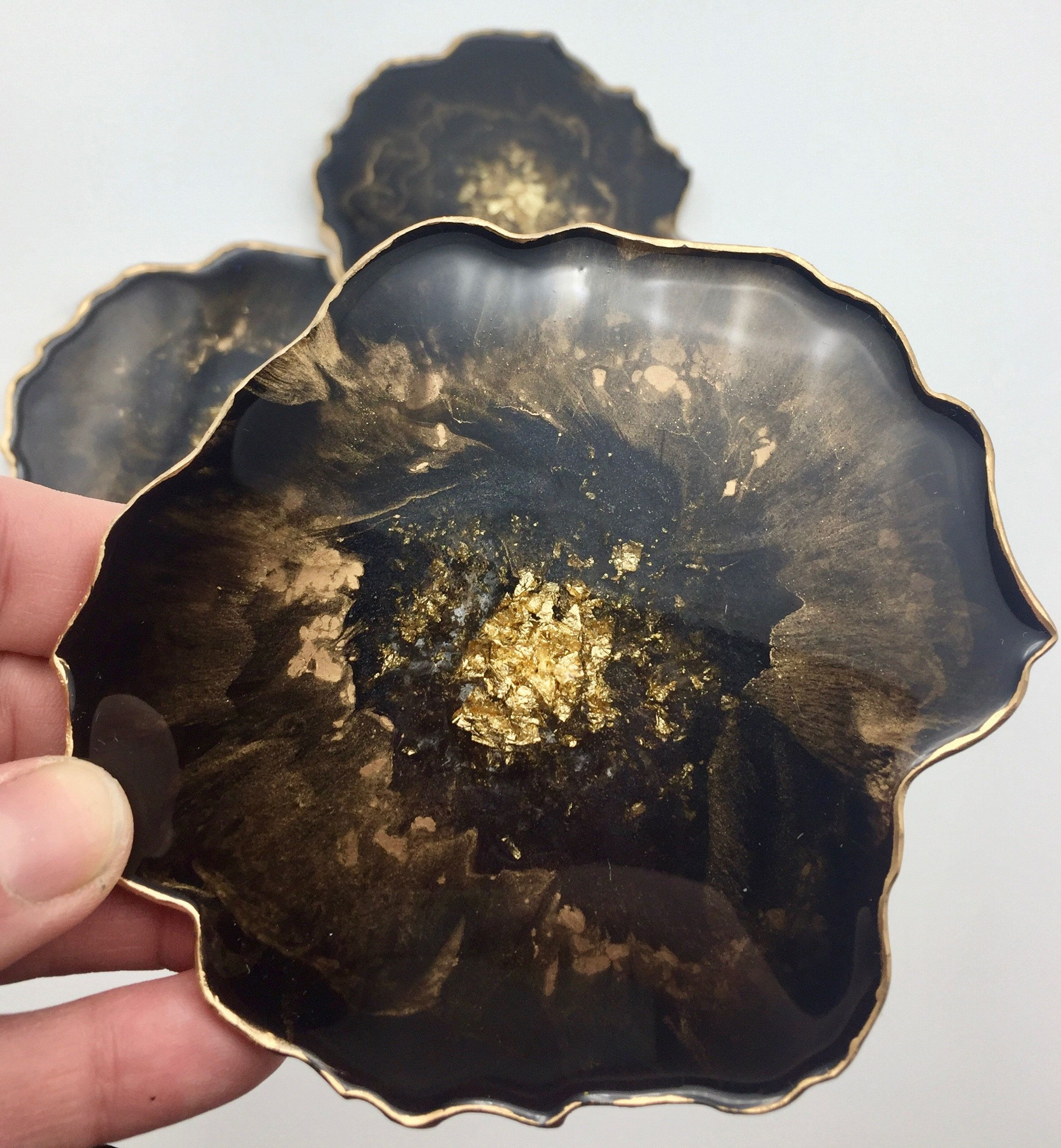 gold green blue Resin geode coasters agate slice rock resin crystal gold flake