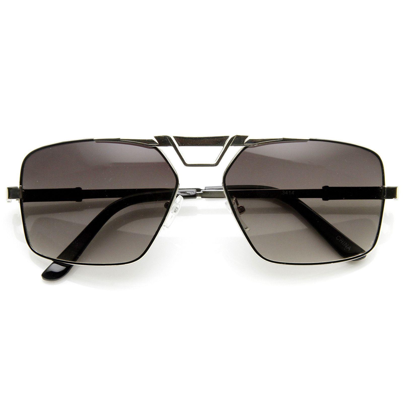 Modern Mens GQ Fashion Large Square Metal Frame Aviator Sunglasses 8988