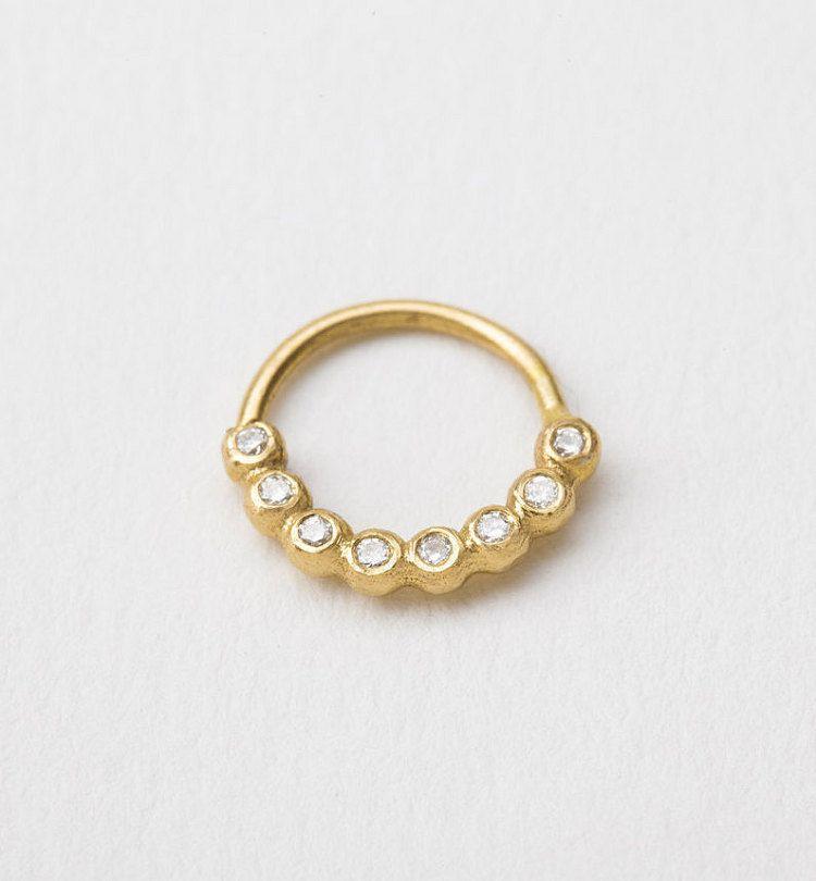 Diamond Septum Ring Diamond Piercing Diamond Nose By Studiomeme