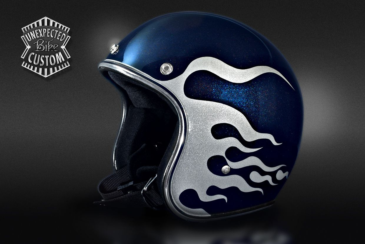 Open Face Helmet Quot Blue Amp Flames Quot Airbrushed Metallic And