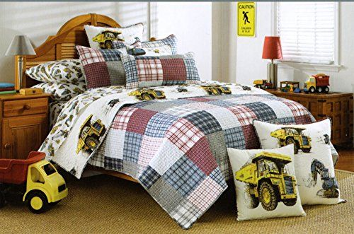 Toddler Bedding Cotton 2pc Twin Quilt Set Reversible Plaid Diggers ... : boys plaid quilt bedding - Adamdwight.com