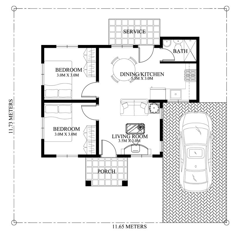 Peralta 2 Bedroom Bungalow House Design Pinoy Eplans Bungalow House Design Modern Bungalow House Small House Design Plans