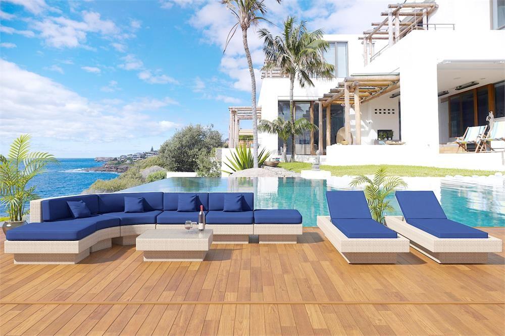 Gabriella Round White Outdoor Wicker Sectional Patio Furniture Www