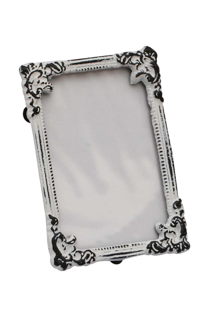 Bulk Wholesale Handmade White Rectangular Photo Frame / Stand in Metal Work with Distressed-Look – Beautiful Carvings on the Edges – Table / Wall Décor – Rustic-Look Home / Office Décor