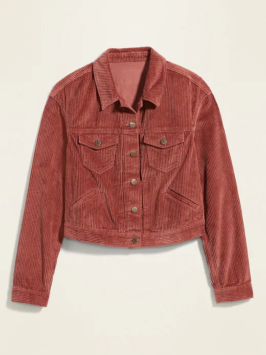 Vintage Girl/'s Boy/'s Corduroy Button up Collared Handmade Jacket