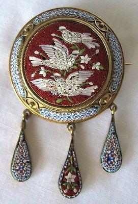 Fine Victorian Italian Gold Micromosaic Pin