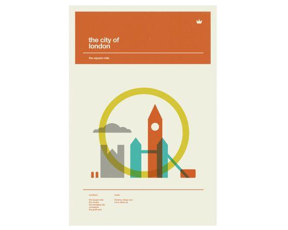 London Poster City Art Print  12 x 18 por CONCEPCIONSTUDIOS en Etsy, $25.00
