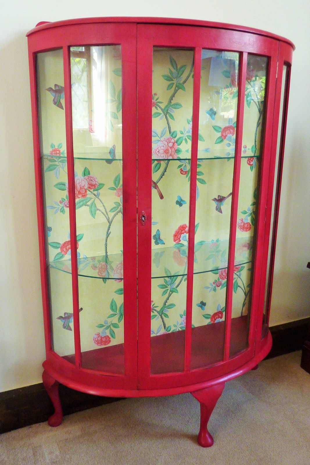 Vintage Bow Fronted Display Cabinet Annie Sloan Paint And V A Inspired Wallpaper Ebay