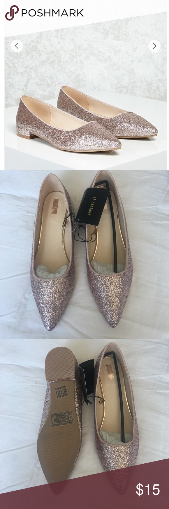 e0cf024d0a5 Metallic Rose Gold Flats Brand New with tags. Bought and never worn. Brand  new with tags. Size 6.5 I am also selling a pair in silver as well. Forever  21 ...