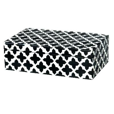 Black Decorative Box Wood And Resin White Storage Bo Gold