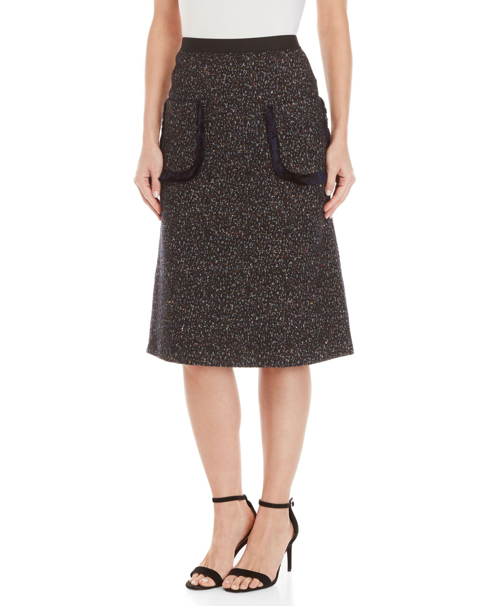 47c9092cad0 Cm.100 Fringe Pocket Tweed A-Line Midi Skirt