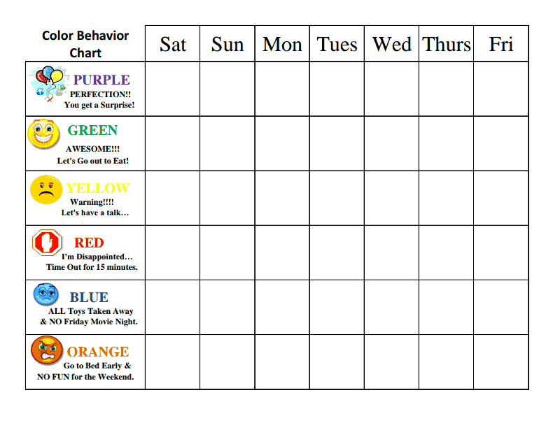 Behavior Charts Template Printable for Kids | Activity Shelter ...