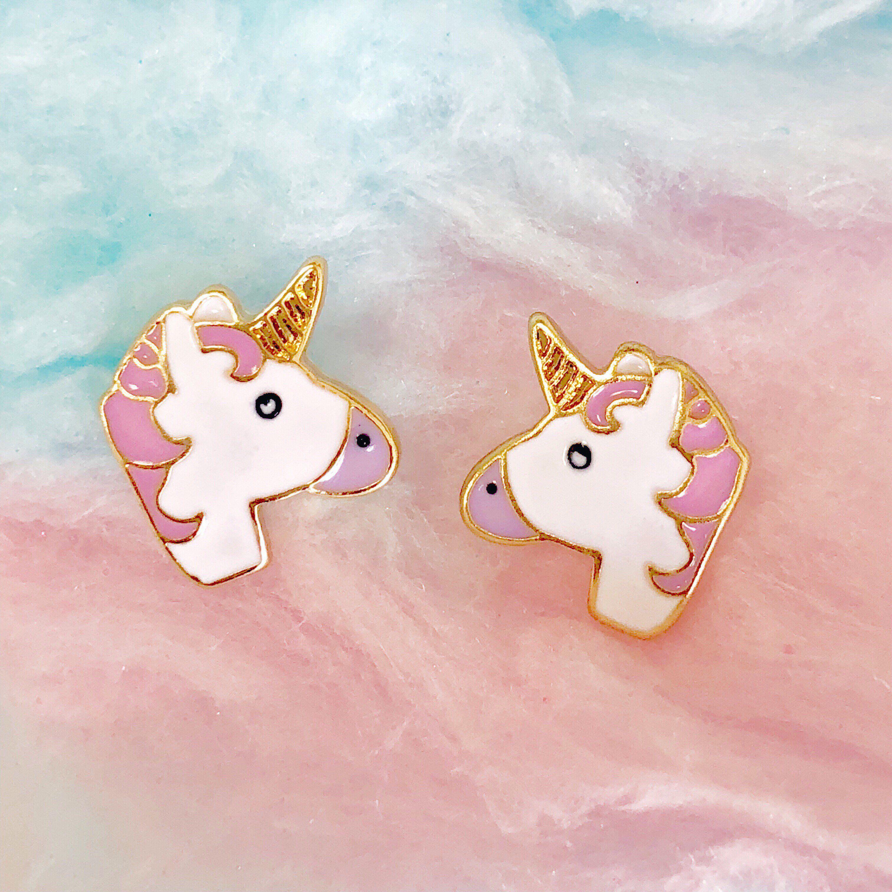 Unicorn Vibes Only Enamel Unicorn Studs