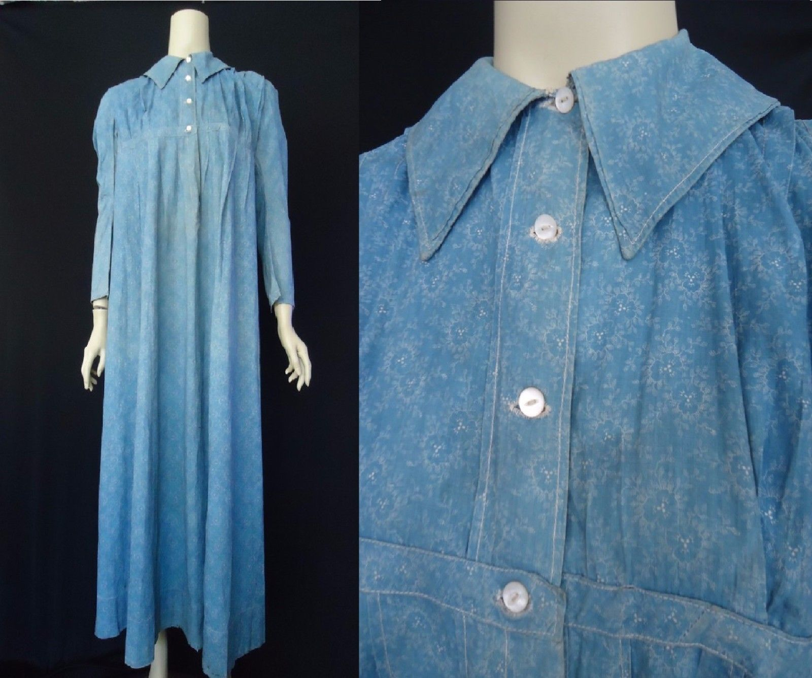 Early indigo calico blue antique 1860s 1900s womens prairie early indigo calico blue antique 1860s 1900s womens prairie dress maternity ebay ombrellifo Image collections