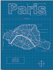 Paris city blueprint map by christopher estes france products paris city blueprint map by christopher estes france malvernweather Images