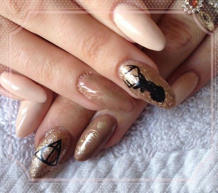 Harry Potter Inspired Acrylic Nail Extensions With Nude Colours And Stamping Art