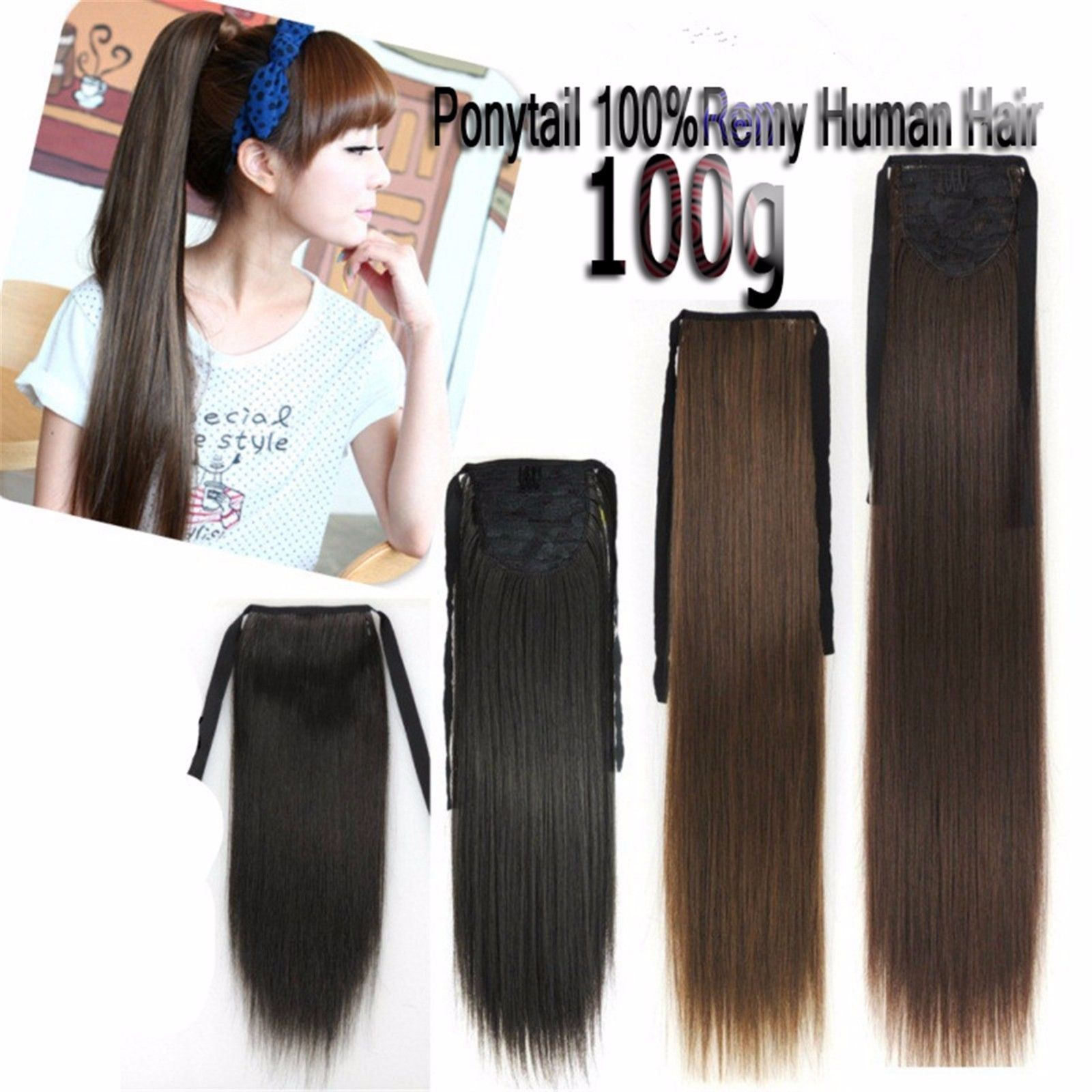 100g Ribbon Ponytail One Hairpieces Clip In 100real Remy Human Hair