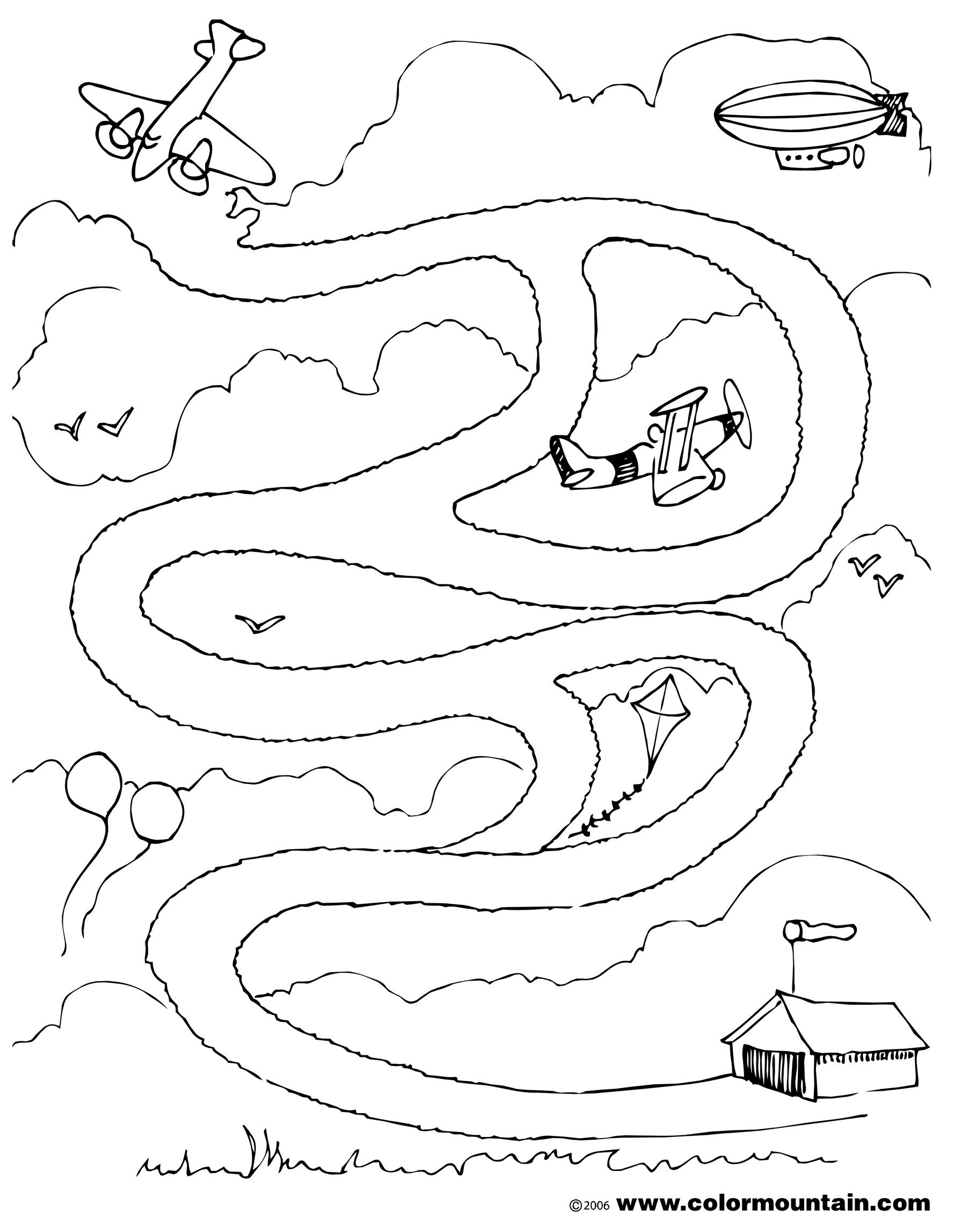Airplane Maze Activity Page Coloring Page
