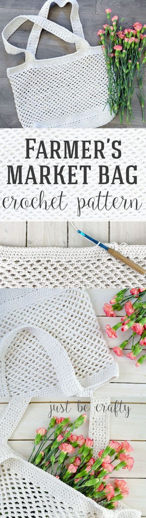 Crochet Farmer\'s Market Bag Pattern - Free Pattern by | Bolsos ...
