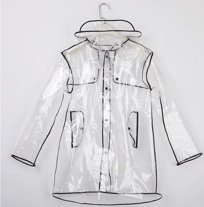 2e54a6cb5cd Fashion Short Long Clear Transparent PVC Runway Jacket Rain Coat Men Womens  Girl