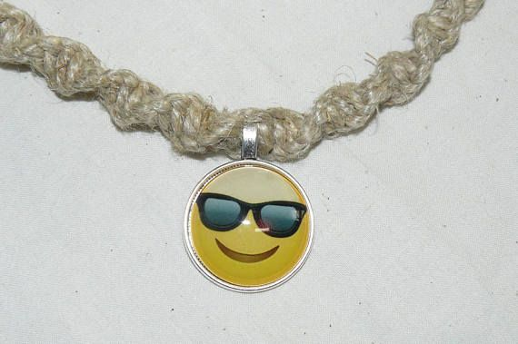 Glass pendant hemp necklace swirl knot yellow smileyface emoji glass pendant hemp necklace swirl knot yellow smileyface emoji mozeypictures Images