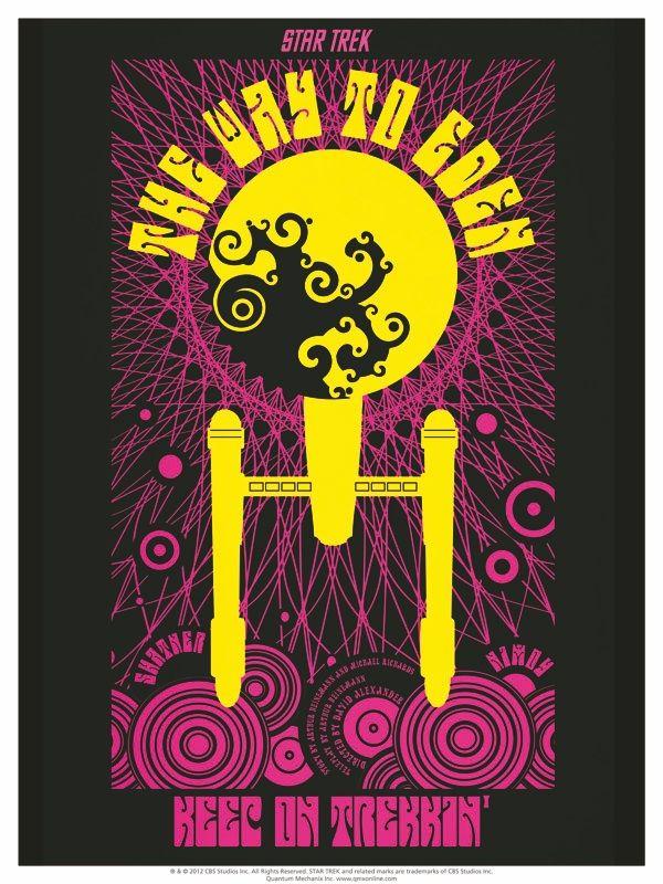 Cool New Thing: Retro STAR TREK: TOS Art Prints.  I love that he made a black-light, hippie Enterprise!