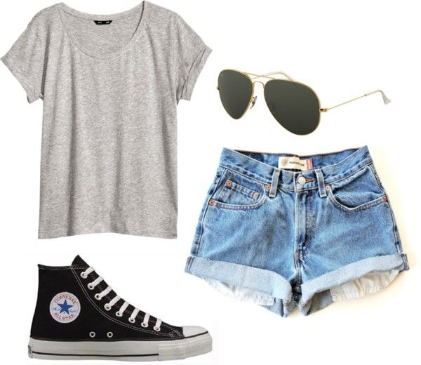 Lucy inspired First Date Gray Tee Medium Wash High Waisted Shorts Ray Ban Black High Top Converse