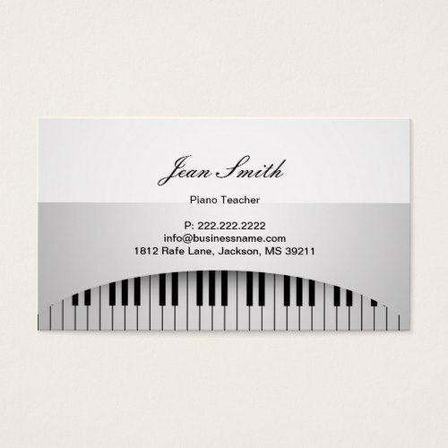 Piano Teacher Pure White Keys Music Business Card Zazzle Com Keyboard Diagram Greeting Cards