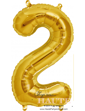 """16"""" Gold Foil Balloon Number 2 Contact Us: Haute Party and Craft Boutique www.HautePartyandCraft.com Email: Sales@HPACB.com Phone: 1(718)5082595"""
