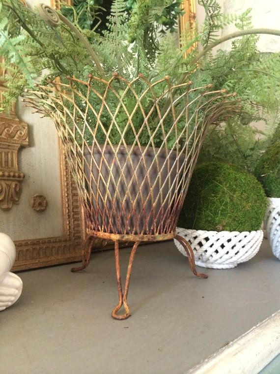pair of small decorative flat wire baskets at 1stdibs.htm antique wire mesh basket rusty metal iron planter basket rusty  antique wire mesh basket rusty metal