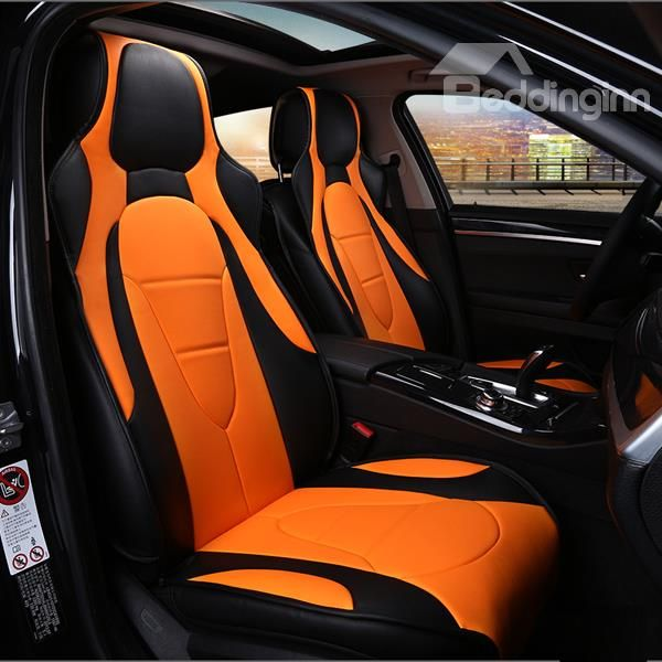 Charming Yellow And Brown Color Sport Universal Car Seat Cover ...