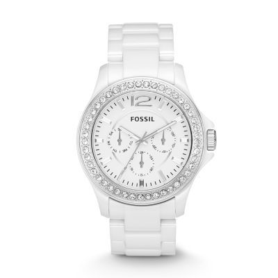 Fossil Riley Multifunction Ceramic Watch - White with Stones