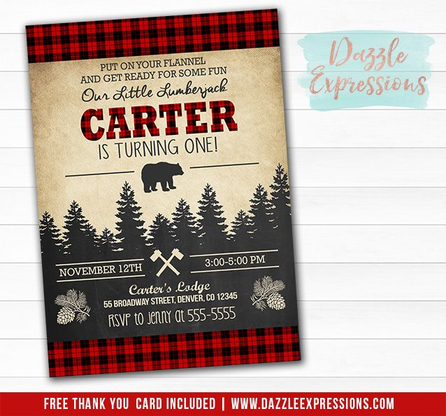 Printable Plaid Lumberjack Birthday Invitation – Fall or Winter Theme Invitation Cards