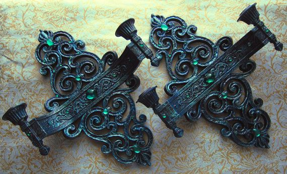 2 Vintage Syroco Dart Candle Sconces by WildMountainStudio on Etsy, $45.00
