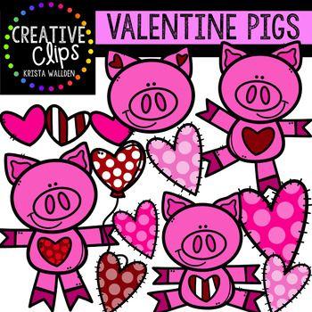 10+ Cute Pig Valentine Clipart