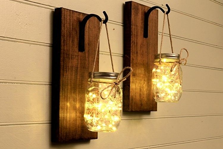 Mason jar decor, diy, do it yourself, lights, wall sign , wall decor ...
