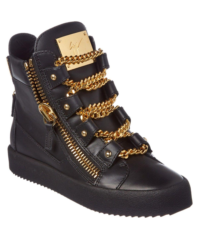 GIUSEPPE ZANOTTI GIUSEPPE ZANOTTI CHAIN DETAIL LEATHER HIGH TOP WEDGE SNEAKER'. #giuseppezanotti #shoes #sneakers