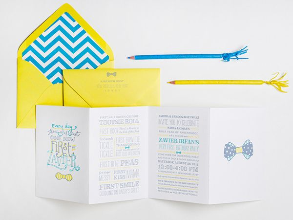 Oh So Beautiful Paper: Zavier's Cheerful Bow Tie First Birthday Party Invitations
