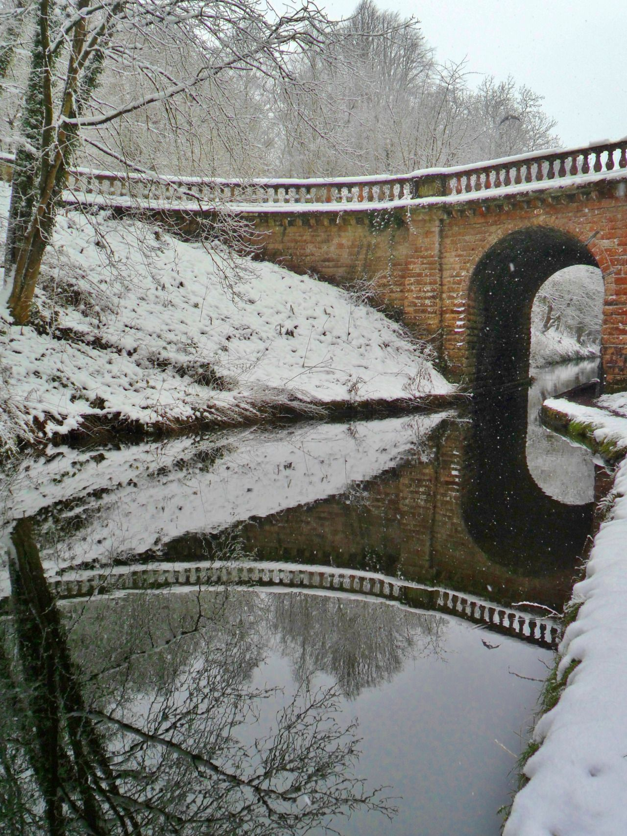"vwcampervan-aldridge: "" Snow falls over the Bridge to Chillington Hall, Brewood, Staffordshire, England All Original Photography by http://vwcampervan-aldridge.tumblr.com """