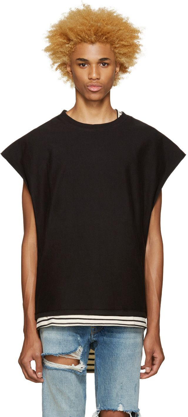 online retailer f1751 894cb Fear of God - SSENSE Exclusive Black Inside-Out Muscle T-Shirt