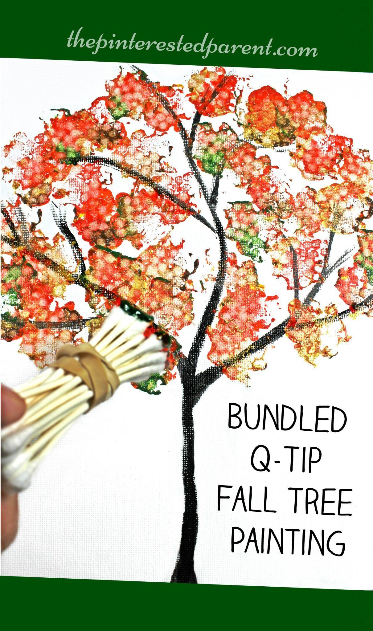 Easy Fall Kids Crafts That Anyone Can Make: Easy Bundled Q-tip Stamped Tree Paintings For Every Season