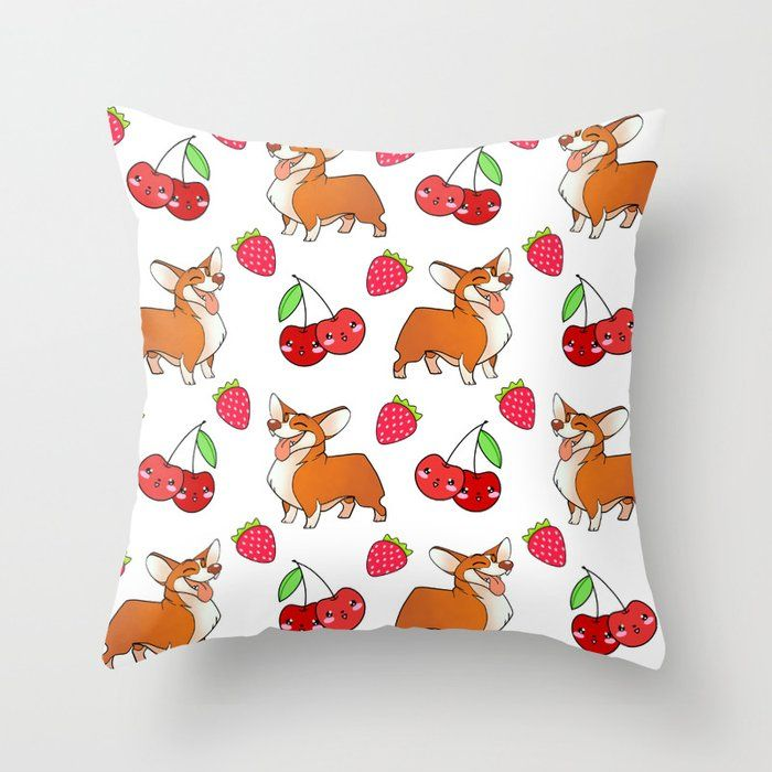 Cute happy playful funny puppy corgi dogs, red sweet summer strawberries and cherries white pattern design. Throw Pillow by agnieszkazalewska